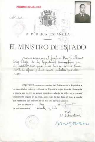 1. Passports issued by the Government of the Spanish Republic (University Mediterranean Cruise of 1933).