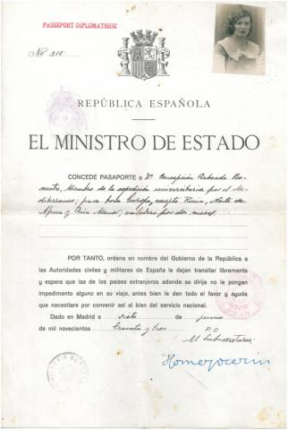 2. Passports issued by the Government of the Spanish Republic (University Mediterranean Cruise of 1933).