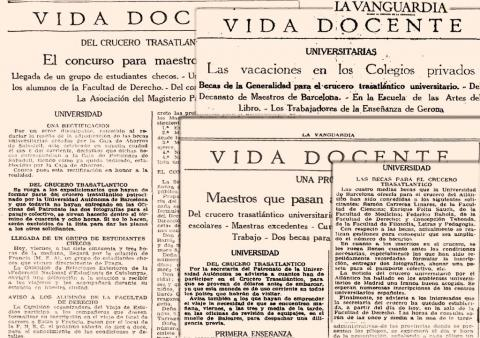"23. Notices published in ""La Vanguardia"" reminding the passengers of the necessary arrangements for the trip."