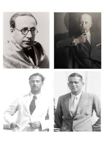24. The four architects of the trip. Left to right: Juan Antonio Güell, Count of Güell; Ángel Ferrer i Cagigal; Guillermo Díaz-Plaja and Jaume Vicens Vives.