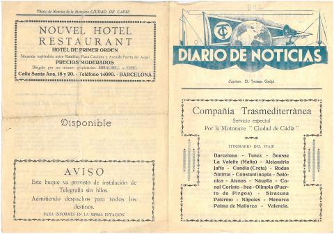 """3. Un ejemplar del """"Diario de noticias"""", periódico editado a bordo del  """"Ciudad de Cádiz""""."""