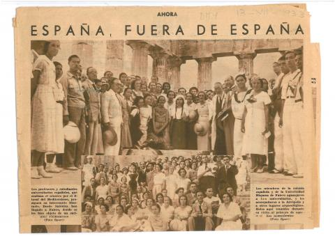 "4. ""Ahora"" newspaper (Madrid) informs about the university expedition as it reached Greece on the 13th July 1933."
