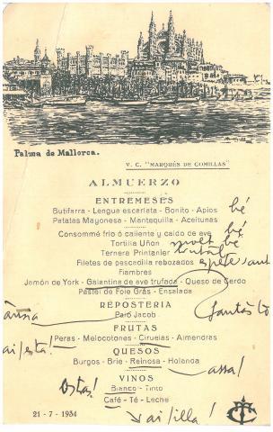 45b. G. Díaz-Plaja comenta con entusiasmo el menú.