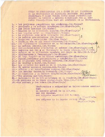 48. Primer borrador del programa de conferencias de G. Díaz-Plaja y J. Vicens Vives.
