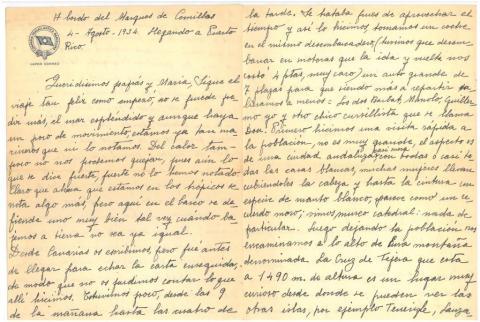 "49. Carta de C. Taboada a sus padres con detalles de la vida diaria en el ""Marqués de Comillas""."