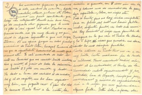 "50. Carta de C. Taboada a sus padres con detalles de la vida diaria en el ""Marqués de Comillas""."