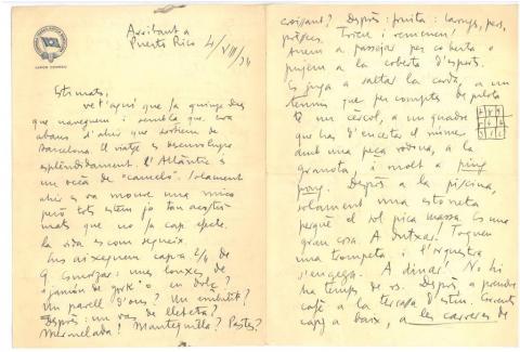 51. Ya llegados a Puerto Rico, G. Díaz-Plaja escribe a sus padres y explica las múltiples actividades en el barco.