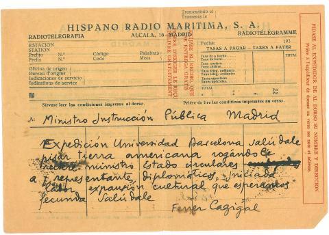 52. El jefe de la expedición se dirige a las autoridades de Madrid, una vez llegado el Crucero a América.