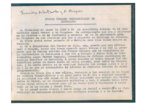 57. Mecanoescrito inédito de la crónica detallada del viaje, obra del catedrático F. de las Barras y de Aragón. Procedencia: Real Jardín Botánico de Madrid.