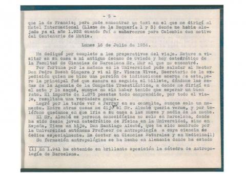58. Mecanoescrito inédito de la crónica detallada del viaje, obra del catedrático F. de las Barras y de Aragón. Procedencia: Real Jardín Botánico de Madrid.
