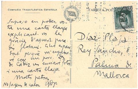60. Una postal de G. Díaz-Plaja alude expresivamente a los placeres gastronómicos del barco.