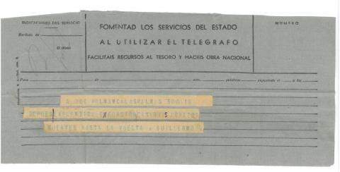 62b. Un telegrama desde Canarias comunicando que el viaje prosigue sin ninguna incidencia.