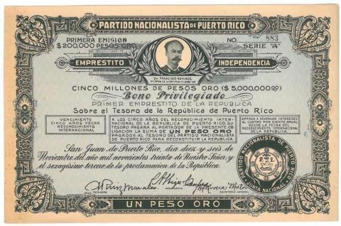"""65 .Un curioso documento: un """"bono"""" de la República de Puerto Rico."""