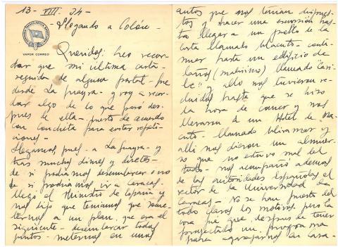 68a. Fragmento de una carta del ingeniero Manuel Taboada donde explica unos incidentes vividos a la llegada a Venezuela.