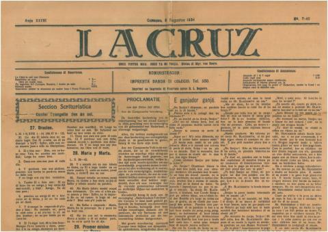 """70. Portada de un diario de Curaçao en """"papeamento"""", lengua que llamó la  atención de muchos estudiantes y profesores de Letras."""