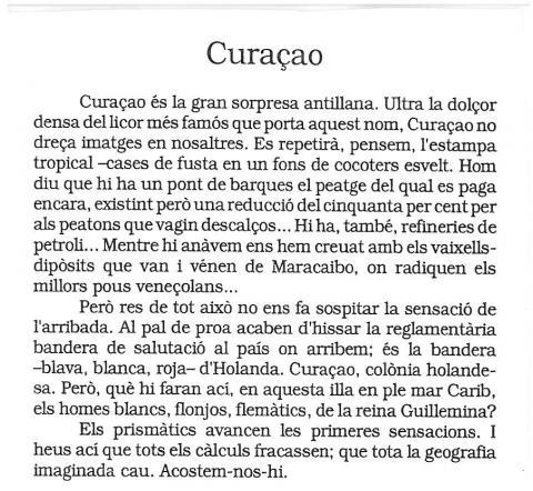 """71. G. Díaz-Plaja recoge en su libro """"Cartes de navegar"""" (p. 77) las observaciones hechas en Curaçao."""
