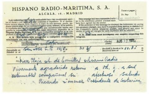 74. A cable from the President of Costa Rica Republic addressed to the participants in the cruise.