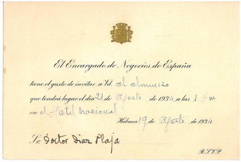 77. Una de les numerosas invitaciones realizadas a los universitarios durante su estancia en la Habana.