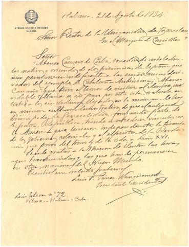 79. Letter of a member of the Ateneo Canario de La Habana, praising the Catalan independence movement of the time.