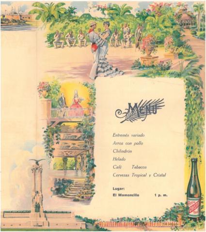 """82. El menú servido por el Restaurante """"El Mamoncillo""""."""