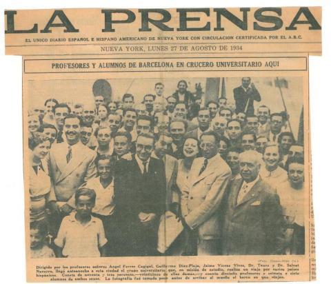 """85. """"La Prensa"""", un diario español editado en Nueva York, habla del Crucero  Universitario."""