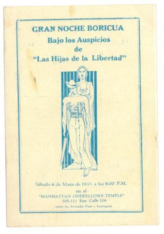 86. Programme handout about an interesting event in New York: Puerto Rican women adhere to the independence movement.