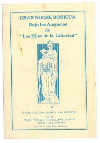 86. Programa de mano de un interesante acto en Nueva York: las mujeres puertorriqueñas se adhieren al movimiento independentista.