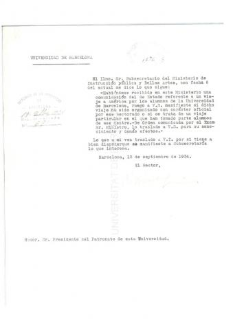 89. El Rector de la Universidad Autónoma de Barcelona se dirige al  Presidente del Patronato, informándole de una demanda de información sobre el Crucero de 1934 realizada por el Ministerio de Instrucción Pública.