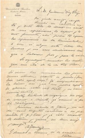 92. El Dr. Ferrer y Cagigal escribe a G. Díaz-Plaja sobre la expedición de los estudiantes puertorriqueños. Procedencia: Unidad de Estudios Biográficos de la UB.