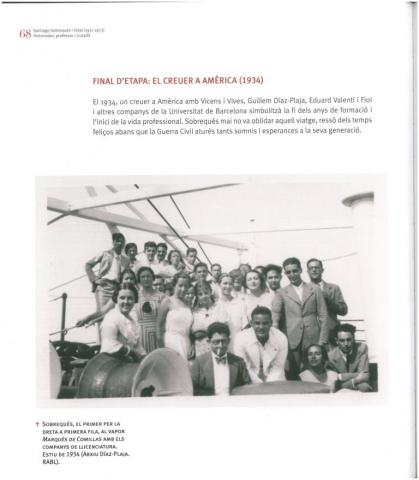 93. Reference to the Cruise of 1934 in the catalogue of Santiago Sobrequés Centenary Exhibition.