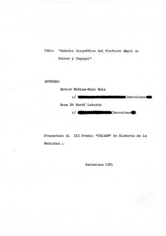 94. Dr. Ferrer i Cagigal character study, written by X. Matias-Guiu and R.M. Martí in 1981.