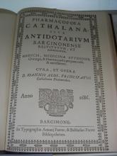 Pharmacopoea cathalana, sive, Antidotarum Barcinonense