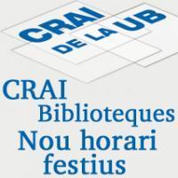 Ampliació d'horaris els caps de setmana i festius als CRAI Biblioteques de la UB
