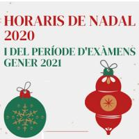 Horaris de Nadal i període d'exàmens 2020-2021 als CRAI Biblioteques de la UB