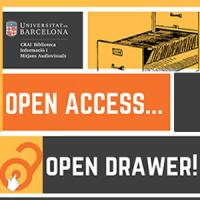 Exposició interactiva Open access, Open Drawer al CRAI Biblioteca d'Informació i Mitjans Audiovisuals