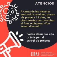 Canvis importants en la cita prèvia per accedir als CRAI Biblioteques