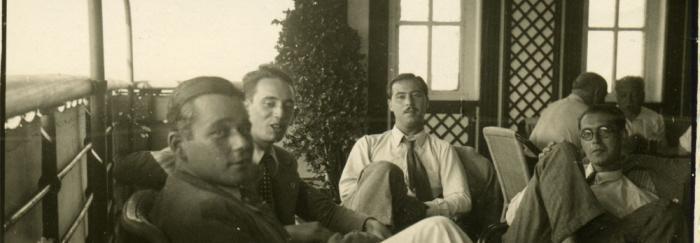 32. De izquierda a derecha: J. Vicens Vives, S. Sobrequés, G. Díaz-Plaja y  E. Valentí Fiol.