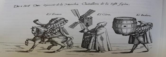 Personajes de El Quijote. Estampa alemana de Andreas Bretschneider (1614).