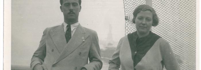 86a. G. Díaz-Plaja y C. Taboada, a la llegada a Nueva York.