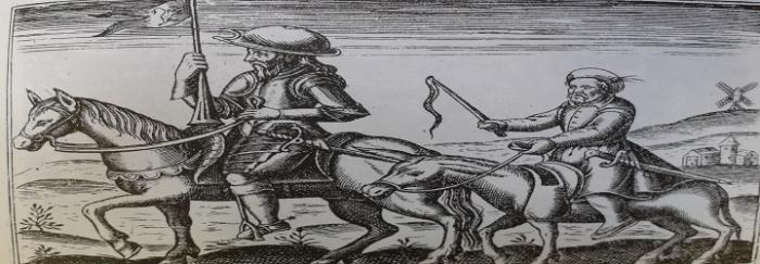 Don Quijote y Sancho. Estampa anónima francesa (1618).