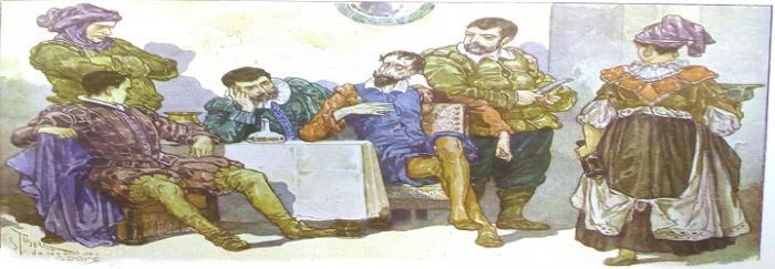 Parte 2. Capítulo LIX. Don Quijote y Sancho en la venta con dos caballeros