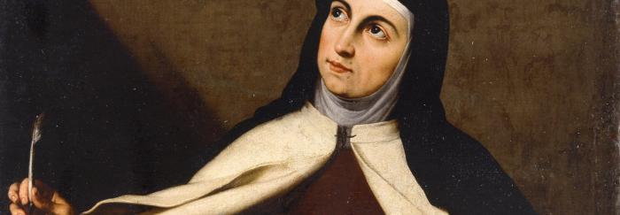 "02. Cartel de la Exposición. Fragmento de la obra de José de Ribera: ""Santa Teresa de Jesús"", ca 1630. Museu de Belles Arts de València."