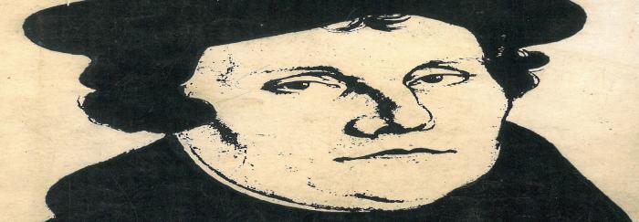 """02. Retrato de Martín Lutero por Lucas Cranach. En: Albert GREINER (1968). """"Lutero"""". Barcelona : Aymá."""
