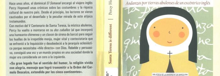"""03. diseño cubierta carmen B. Gabo y Cristina Serrano. Percy HOPEWELL (2015). """"Santa Teresa is different : andanzas por tierras abulenses de un excéntrico inglés"""". Madrid : Funambulista."""
