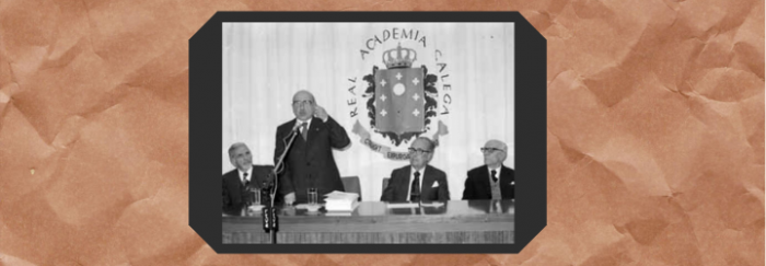 Ricardo Carvalho Calero en la celebración del Día de las Letras Gallegas de 1980 junto a ,Marino Dónega, Domingo García-Sabell e Francisco Vales Villamarín. [Fotografía] 1980. Real Academia Gallega <https://bit.ly/3gt0QSh>