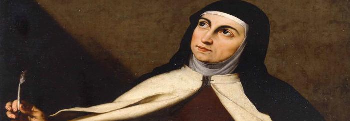 "01. Cartel de la Exposición. Fragmento de la obra de José de Ribera: ""Santa Teresa de Jesús"", ca 1630. Museu de Belles Arts de València."