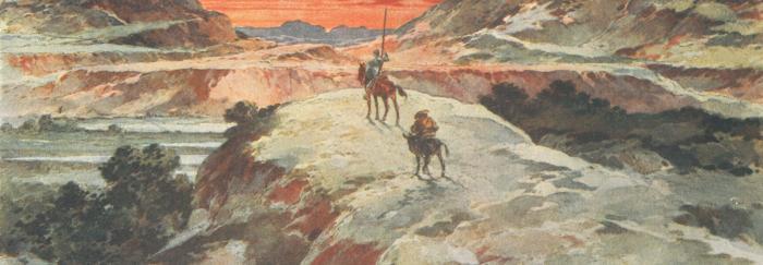 """Parte 1. Capítulo XXIII. """"Y guiando Sancho sobre su asno, se entraron por una parte de Sierra Morena."""""""