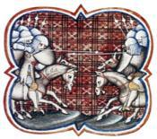 Il·lustració del manuscrit Il·luminat - Grandes Chroniques de France (1375) - Episodi de la batalla